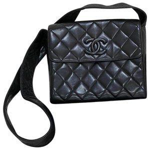 Vintage Quilted Black Lambskin Shoulder Bag